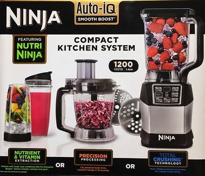Nutri Ninja Blender System BL490UK2 with Auto-iQ & 1.2L Food Processor 1200W