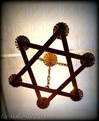 ANTIQUE HAND HAMMERED WROUGHT IRON STAR CHANDELIER. WOW , L@@k!!!