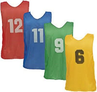 Champion Dozen Adult  All Sport w/ Numbers 1-12 PINNIES Scrimmage Vests 4 Colors