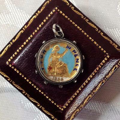 Antique Coin STERLING SILVER Enamel 1866 Queen Victoria Groat Watch Fob