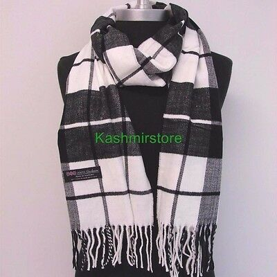 New Fashion 100% Cashmere Scarf Black/White Check Plaid Scotland Wool Wrap