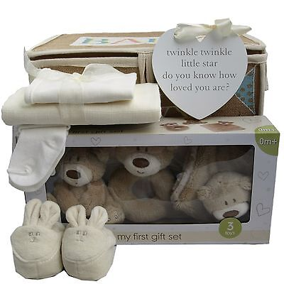 "Baby gift basket/hamper ""3 bears first gift set"" neutral baby shower nappy cake"