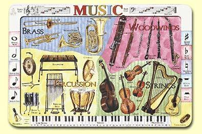 Painless Learning Ruskin Placemats MUSIC & INSTRUMENTS Laminated Sets