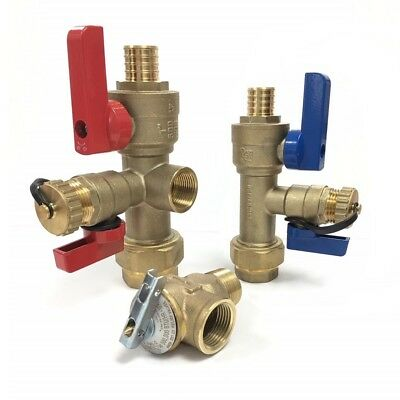 "PEX 3/4"" Tankless Water Heater Isolation Valve Kit, Navien, Takagi, Rheem, Bosch"