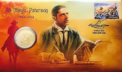 AUSTRALIAN $1 Coin & Stamp PNC 2014 Uncirculated Banjo Paterson 150 Years !!