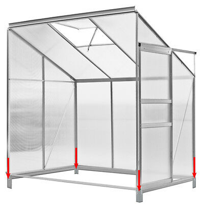 Greenhouse Hothouse Lean to Greenhouse Garden Foundation Aluminium 192x127x202cm