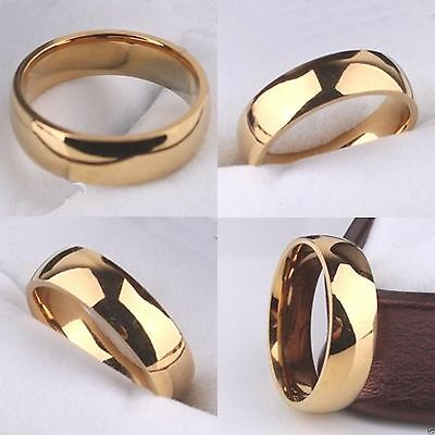 NEW Yellow Gold Filled 6mm Mens Wedding Ring Womens Pinky Band (Sizes K to Z+3)