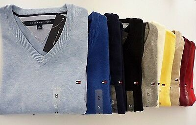 NWT Tommy Hilfiger Solid V Neck Pacific Jumper  Sweater For Man