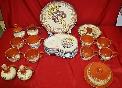 23 Pc Hand crafted Pennsylvania Dutch Welden Redware Pottery Collection