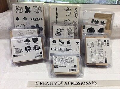 Stampin' Up Lot Of 10 Brand New Wood Mounted Rubber Stamp Sets