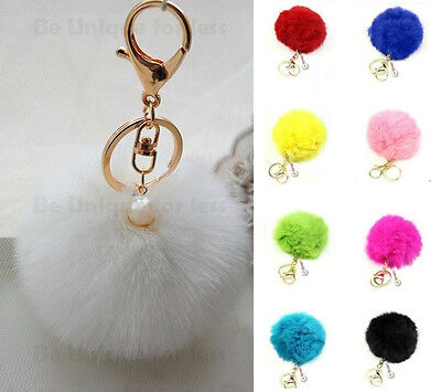 Soft Fluffy Rabbit Fur HandBag Keyring Charm With Dangly Pearl Pompom Keychain