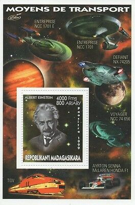 Albert Einstein Space Travel Star Trek Starship Enterprise Mnh Stamp Sheetlet