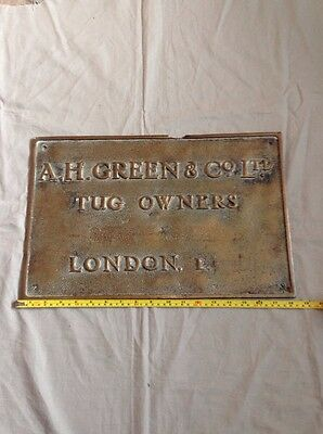 Vintage Antique Brass / Bronze Plaque Ah Green Tug Owners London E Shipping Inte