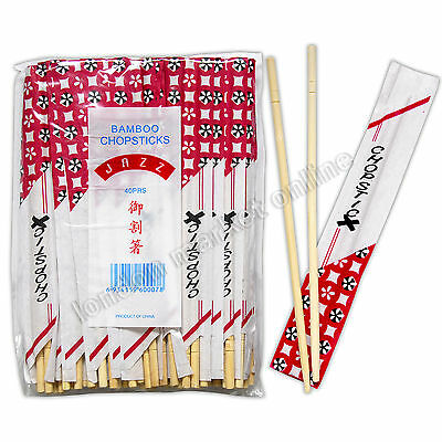 40 Pairs Chinese Chopsticks Wooden Round Bamboo Traditional Oriental Korean Thai