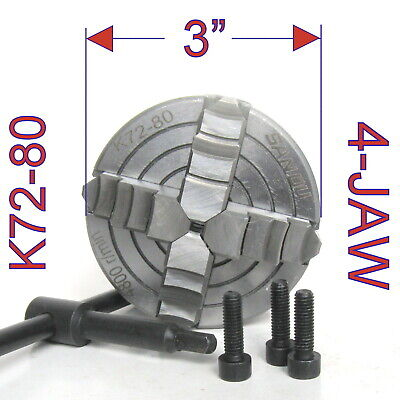 """1 pc Lathe Chuck 3"""" 4Jaw Independent & Reversible Jaw K72-80 sct-888"""