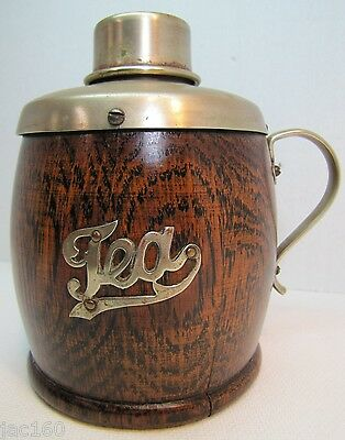 Antique Victorian 1800's TEA CADDY w Handle & Lid - EPNS Wood Porcelain ornate