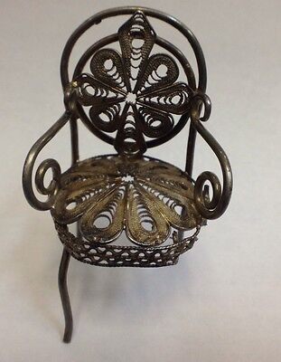 Sterling Silver Ornate Filigree Dollhouse Chair Baby Victorian *missing Leg*