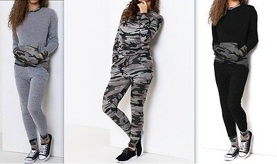 New Womens Ladies Loungewear Set Camouflage Army Print Joggers Tracksuit Pants