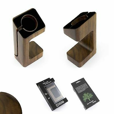 WOOD Dock for Apple Watch Charging cradle DARK Stand Station 38 42 mm