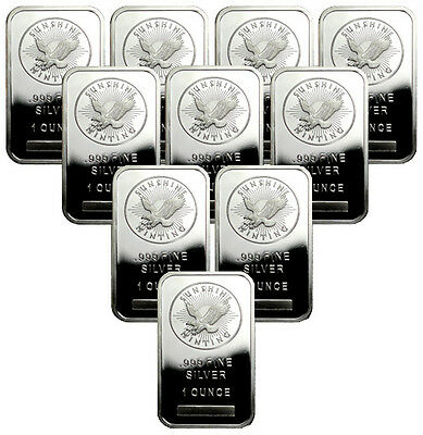 Lot of 10 Sunshine Minting, Inc. 1 Troy Oz .999 Fine Silver Bar SKU33422