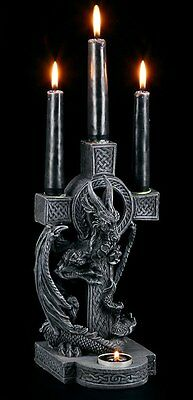 Candle holder - Dragon with celtic Cross - Figurine Gothic Fantasy
