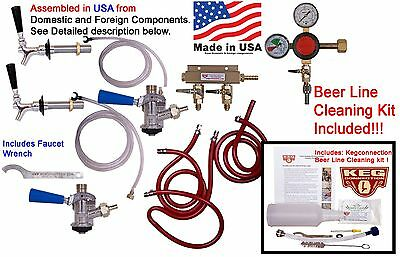 2 Tap Kegerator  Kit & Beer line Cleaning Kit, Two beer faucet (CK2200+CL302)