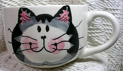 Grey Tabby Soup or Latte Mug Handmade by Grace Smith Kiln Fired Earthenware Clay