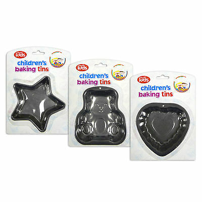3pc CHILDRENS CHILDS NON STICK BAKING TINS 13-14cm HEART STAR TEDDY BEAR CAKE