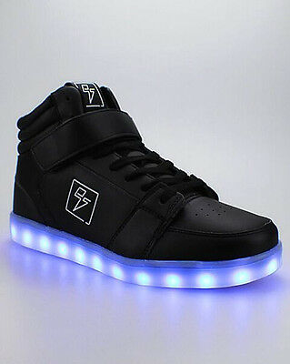 Electric Styles Light Up High Top Bolt Black Led Sneakers Shoes Size K1/w3-M15