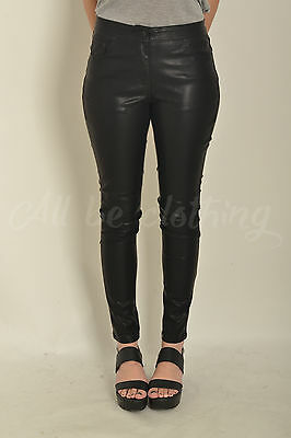 New Womens Soft Black Skinny PVC Trousers With Pockets In Sizes 8 10 12 14 16