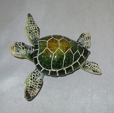 "Sea Turtle Figurine Green Water Animals 4.25"" Poly Resin New"