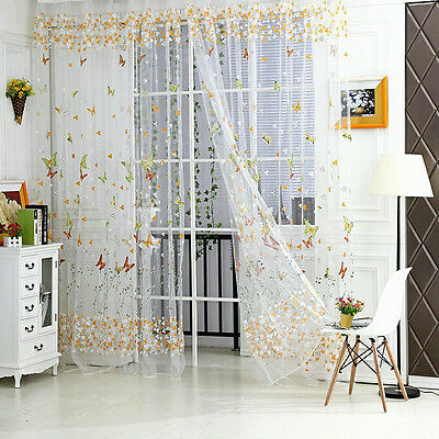Butterfly Floral Tulle Voile Door Window Curtain Drape Panel Sheer Scarf Valance