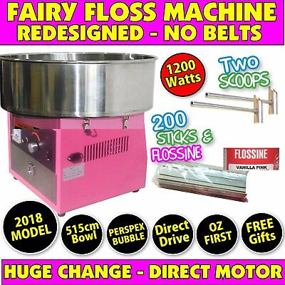 2017 Model Fairy Floss Machine With Perspex Cover - NO BELTS - **NEW**upgraded*