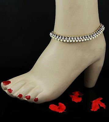 Goldtone Indian Anklet Bollywood Bare Foot Chain Ankle Bracelet Women Jewelry