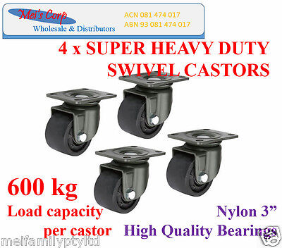 "3""Low Profile Castor Wheels,4 Heavy Duty Castors,600 kg load capacity per caster"