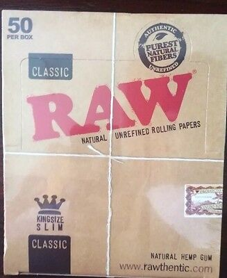RAW CLASSIC 25 King Size Slim 110mm Natural Unrefined Rolling Papers HALF BOX 25