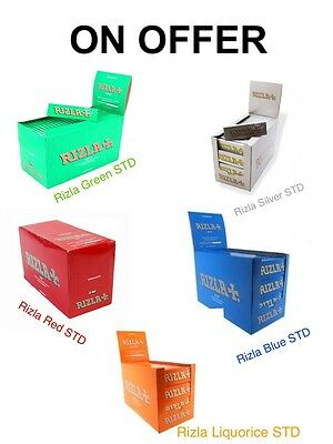 Rizla Rolling Papers Green Red Blue Silver Liquorice Std Loose,10/20