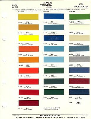 1972 Volkswagen Paint Chips Sheet (Ppg)
