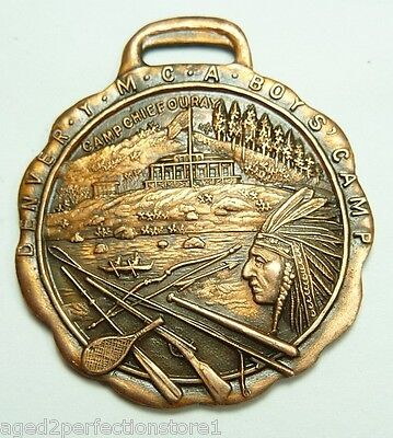 1947 YMCA Checkers Fob Medal Medallion Denver Boys Camp Chief Ouray sports award