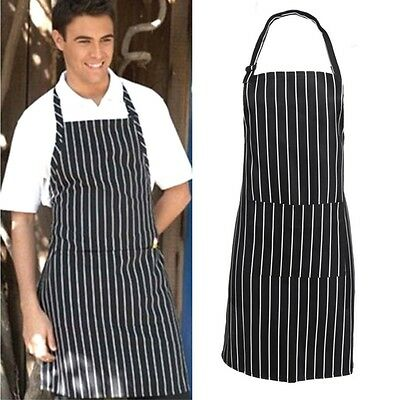 Chefs Apron with Front Pocket Butchers Kitchen Cooking Baking Bib Stripped Cook