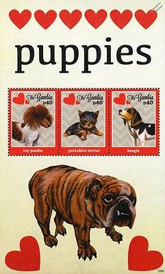 Puppy Dog Stamp Sheet (Toy Poodle/Yorkshire Terrier/Beagle) 2012 Gambia