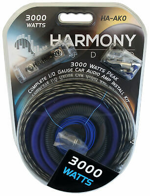 Harmony Audio HA-AK0 Car Stereo 1/0 Gauge 3000W Amp Amplifier Install Kit Nickel