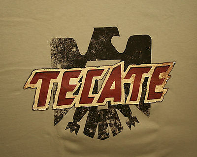 Tecate Mexican Beer Label Logo Tan Advertising Cotton T-Shirt New NOS SZ XL