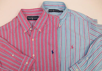 Polo Ralph Lauren Striped Lightweight Oxford Shirt $98 Pink Turquoise W Pony NWT