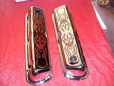 tall chrome with red Flames valve covers for SBF ford 289/302/351-w,rat rod