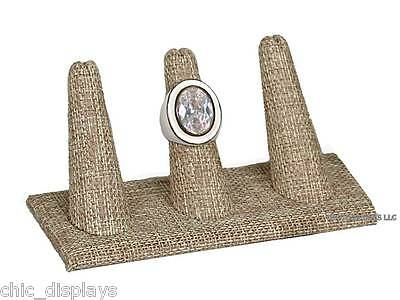 """MODERN BURLAP 3 FINGER RING DISPLAY STAND SHOWCASE JEWELRY RING HOLDER 2""""Tall"""