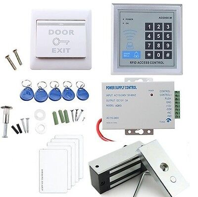 60kg Electronic Lock RFID Access Control System Kit+Power Supply+Exit Button