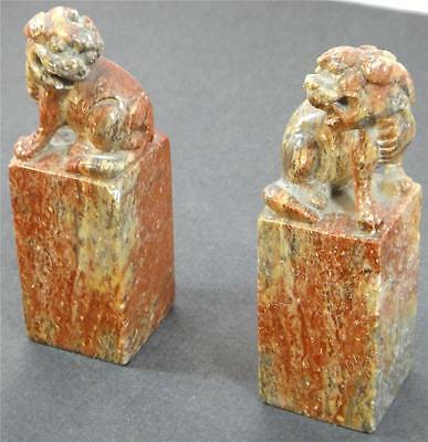 Pair Of Vintage Chinese  Stone Foo Dogs Great Condition CHINA