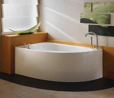 "Neptune Wind 60"" Lovely Freestanding Corner Bathtub, White, Drain Right WI60"