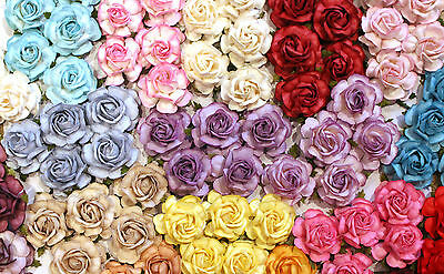 5 Mulberry Paper Tea Rose Flowers 40mm Large With Wire Stems Scrapbooking Crafts